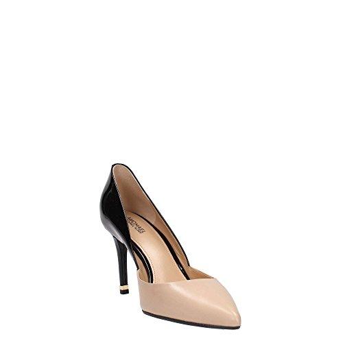 Michael Kors decolletes decoltè scarpe donna con tacco pelle ashby flex nero Bisque / Black