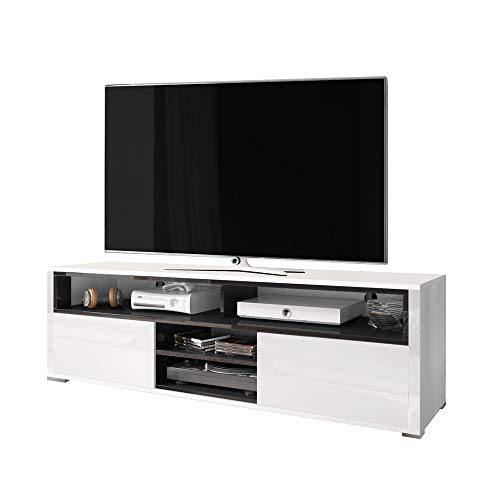 Selsey Mario - Meuble TV/Banc TV (137 cm, Blanc/Noir)