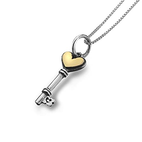 Pure Origins Sterling Silver And Brass Key Necklace - Silver