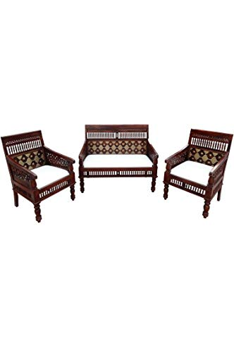3er Set Orientalische Lounge Sitzecke aus Holz Zanubia | Marokkanische Sitz-Gruppe Sofa 2 Sitzer Zwei Sessel und EIN Couchtisch Outdoor im Garten Balkon oder Indoor im Wohnzimmer | 3...