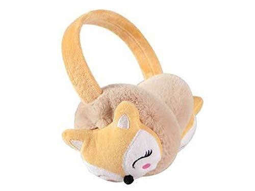 BAOLIJIN Warm Earmuffs Cartoon Fox Muffs Warm Plüsch Ohrenwärmer Winter Outdoor Ohrenschützer für Kinder (Rosa) (Farbe : Khaki, Größe : 12cm) Fox Muff