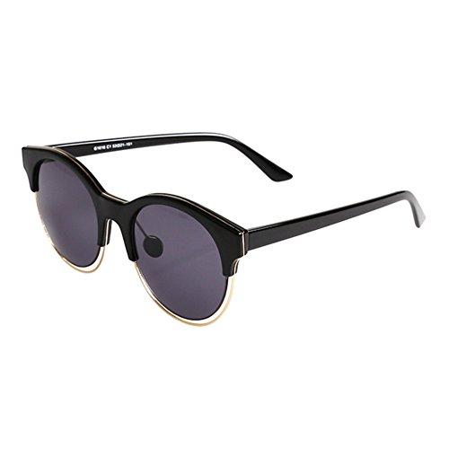 WYYY Sonnenbrille Goggle Driving Gläser MS Runde Gesicht Halbrahmen Klassische Retro Polarisierte Licht Sonnenschutz Anti-UVA Anti-U (Farbe : Grau)