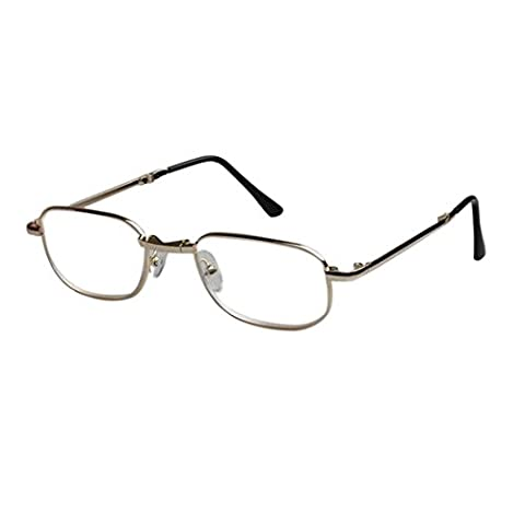 Haodasi Folding Mini Fashion Reading Glasses and Case Vintage Round Metal Frame For Women Men Reading glasses 4.5 5.0 5.5