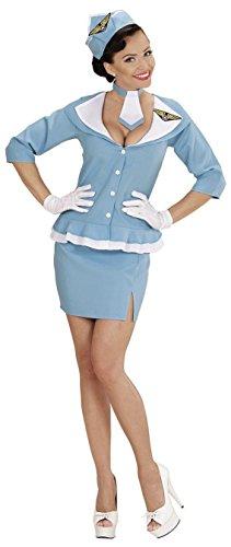 Widmann 06634 - Erwachsenenkostüm Retro Hostess, Jacke, Rock, Krawatte und Hut, Größe (Kostüme Flug Stewardess)