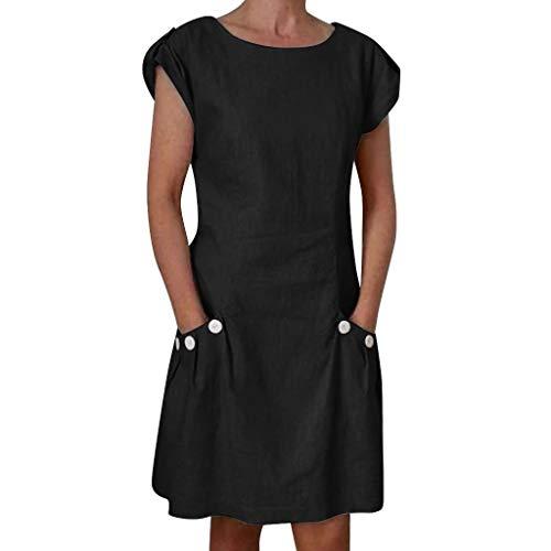 Business Frauen Rock Sommer Minikleid Regular High Waist Puff Sleeve Rundhals-Tasche Knopf hinten Reißverschluss Hanfkleid(Schwarz, M) Puff Sleeve Swing