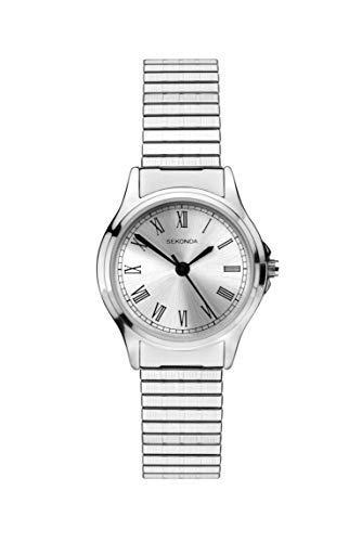 Sekonda 2701 Montre à Quartz analogique pour Femme avec Cadran argenté et Bracelet Extensible argenté