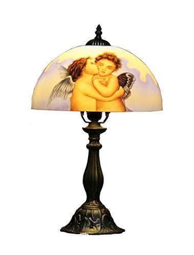 Luminaire, Abat-Jour en Verre de Style Tiffany, Lampe de Bureau Art Deco de Style Européen Petit Rétro de 12 Po avec Base en Alliage de Zinc, Lampe de Chevet de la Chambre à Coucher, BOSSLV