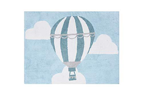 Aratextil. Alfombra Infantil 100% Algodón lavable en lavadora Colección globo celeste 120x160...