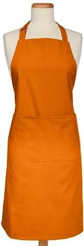 Mukitchen réglable Coton Tissé à chevrons Tablier avec grandes poches, Orange, Other-size