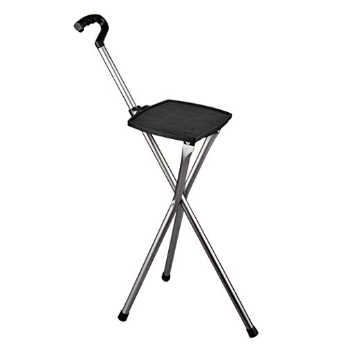 AMY-ZW Tripod Cane Hocker Disability Medical Aid Klappsitz Cane Folding Gehsitz Outdoor Cane Chair Walker Tragbare Cane Sicherheitsaktionshilfe Schwarz -