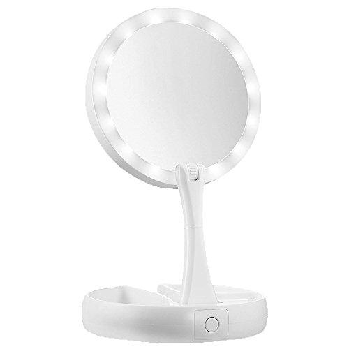 Forepin specchio da trucco con luci led 1x/10x con ingrandimento a doppia faccia portatile ricaricabile con cavo usb