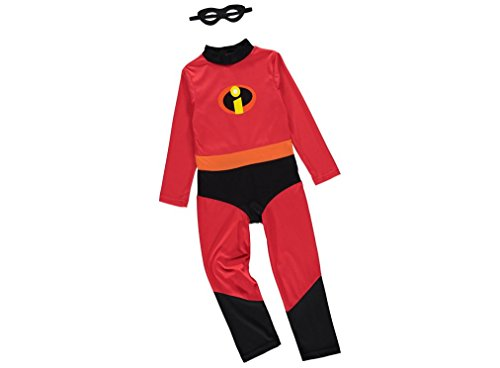 Officially licensed Disney Pixar Incredibles Dash fancy dress Boys Speedy Superhero Costume 7-8 Years Old red and black Jumpsuit with Eyemask. Made under Incredibles 2 licence for the George Collection