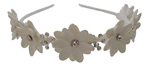hör Weiß Blume mit Kristall Hochzeit Haarband Stirnband Flower Girl Konfirmation (Flower Child Stirnbänder)