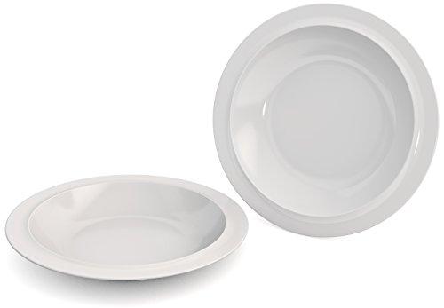 Ornamin Teller tief Ø 22 cm weiß 2er-Set Melamin (Modell 505) / Kunststoffteller, Speiseteller, Suppenteller