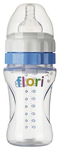 floribottle BPA frei Babyflasche, Anti Kolik Trinksauger, Silikonsauger, 300ml, 10oz, Farbe:Blau