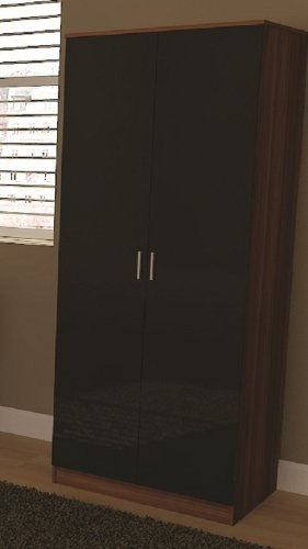 (LOVEMYHOMEFURNITURES) High Gloss Black 2 Door Double Wardrobe