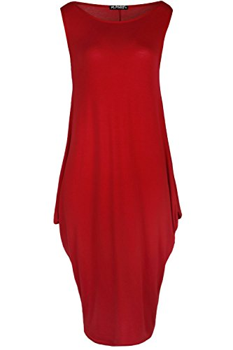 Fashion Star Oops Outlet Womens Italian Drape Lagenlook Sleeveless Side Pockets Ladies Baggy Midi Dress