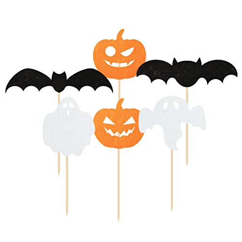 en Cupcake Topper Kürbis Ghost Bat Kuchen dekorative Topper Essen Obst Picks Party Supplies (6 Stile, je 5 Stück) ()