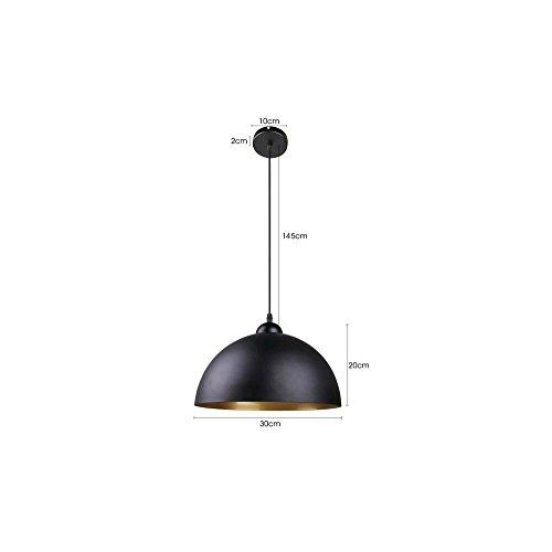 BAYTTER® Design 2x Industrielle Vintage LED Pendelleuchte Hängeleuchte Φ 30cm für E27 Leuchtmittel, schwarz und weiß wählbar, für Wohnzimmer Esszimmer Restaurant Keller Untergeschoss usw. (schwarz) - 3