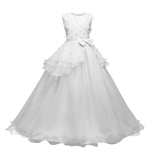 Frashing Mädchen Ärmellos Kleid Party Hochzeit Prinzessin Blumen Kleid Abschlussball Ballkleid Blumenmaedchenkleid Formale Partei Lang Schwanz Kleider 3-9T