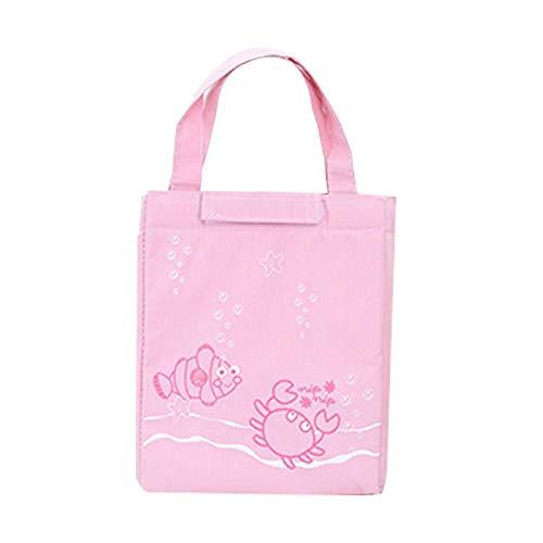 Cartoon-muster Leinwand (Leisial Kühltasche Klein Mittagessen Tasche mit Handgriff Leinwand Lunchtasche Kinder Lunchbag Cartoon-Muster 26 * 18CM Rosa)