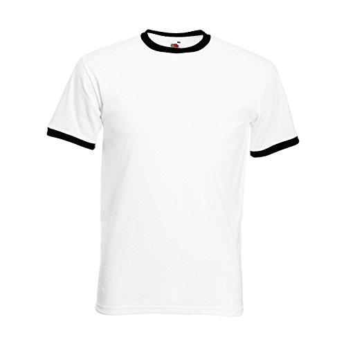 Fruit of the Loom Herren Ringer Retro T-Shirt Farbe Schwarz/Weiß Größe M -