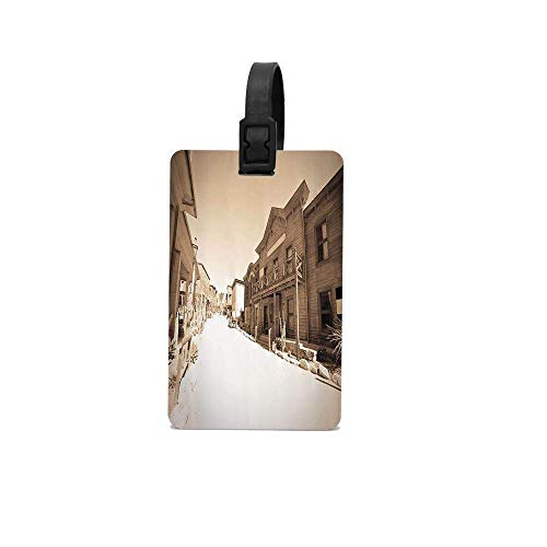 ExiaquyangtLuggage Vintage Photo of far West Town Cowboy Village Historical Wooden Building Picture Pattern Luggage Tag with Adjustable PVC Loop Travel Id Identification Travel Accessory YU5515 -