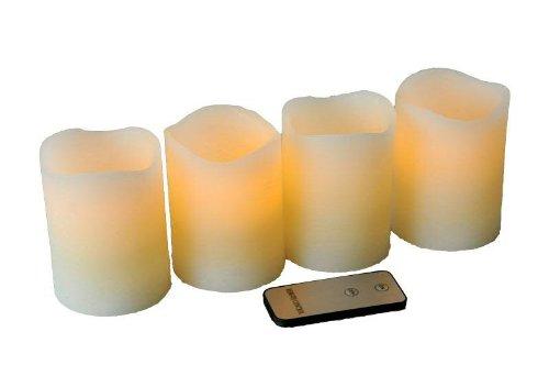 Kleine LED Adventskerze mit gewelltem Rand - 4 Stück - Creme - Höhe: 10cm / Ø 7cm - Material: Echtwachs - Batteriebetrieben & Fernbedienung - 7 Kleine Creme