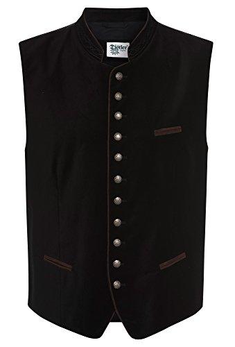 Distler Original Einfarbige Herren-Weste aus Samt schwarz,50