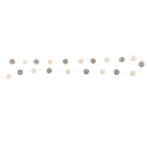 Filzbälle Hängende Dekoration Zimmer Party Hochzeit Girlande Mehrfarbig - Grau + Weiß ()