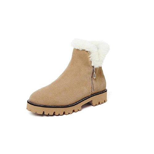 YYH Inverno cotone scarpe donna spessa suola neve stivali breve tubo Martin Boots . khaki . 37