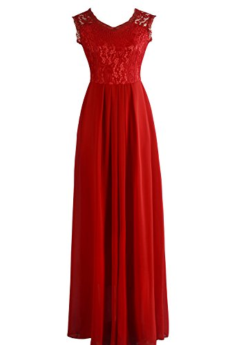 Babyonlinedress Abendkleider Lang Elegant für Hochzeit, Damen Ärmellos Spitzenkleid Brautjungfer Partykleid Festliches Kleid, M, Rot (Hochzeit Kleid Rot Und Schwarz)