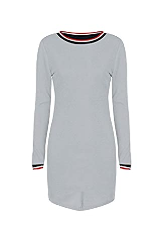 Les Femmes Colorblock Élevée Faible Pro T Shirts Robe Tunique Grey M