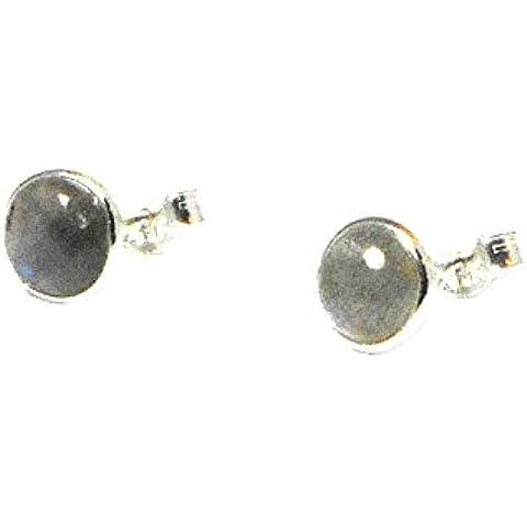 Forma rotonda, in argento Sterling, con LABRADORITE-Orecchini a lobo, 7 mm (LBS1501162)
