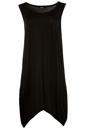 Ulla Popken Damen große Größen   Kleid in femininer Silhouette   ärmellos   Zipfelsaum   bis Größe 62+   schwarz 50/52 714630 10-50+