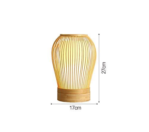 Lámpara de Mesa de Bambú, Dormitorio de Estilo Japonés Simple Lámpara de Cabecera Estilo Chino Luces de Sala de Estar Zen Lámpara de Escritorio Lámpara de Estudio Botón de Interruptor de Encendido E2