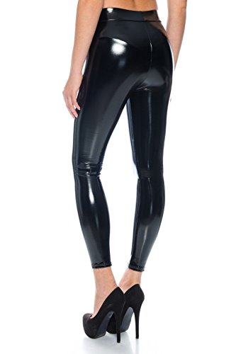 Damen Leder Optik Thermo Hose Legging Leggins Wetlook Lack schwarz Jeans Jegging (L)