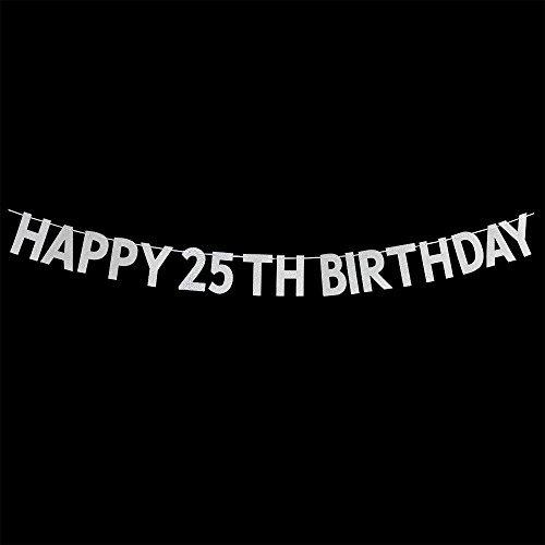 webenison Happy 25. Geburtstag Banner-Cheers bis 25Jahre Geburtstag Jahrestag Party Supplies, Ideen und Dekorationen-SILBER