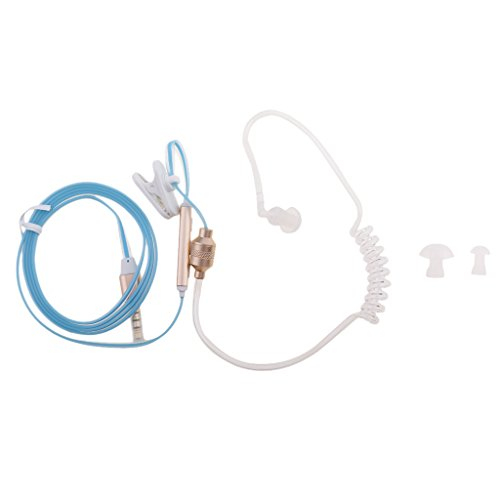 MagiDeal Teléfono Celular Anti-radiación Mono Auricular Estéreo Tubo de Aire Micrófono 3.5mm - Azul