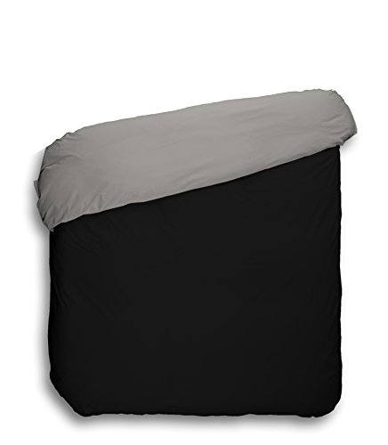 Play Basic Collection 104531.0 - Funda nórdica lisa reversible, 180 x 220 cm, color negro y gris