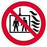 Aufkleber Aufzug im Brandfall nicht benutzen gemäß ISO EN 81-73 Folie selbstklebend 5cm Ø, 10 Stück (Verbotsschild, Brandschutz, Fahrstuhl) praxisbewährt, wetterfest
