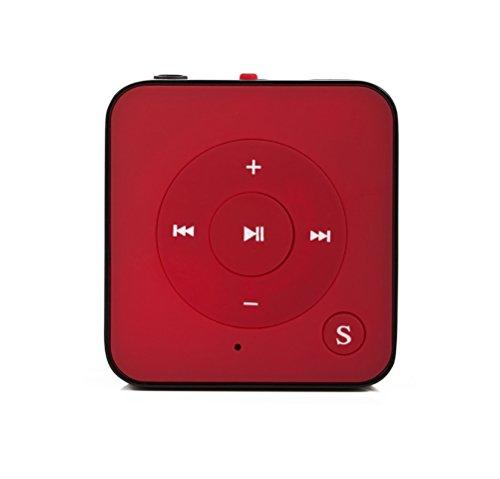 MP3-Player Royal BC05 – Clip, Sport, Fitness Player, 15 Stunden Wiedergabe, Kopfhörer, USB Kabel, mit microSD Kartenslot für bis zu 32 GB microSD Karten – gratis Silikonhülle – Rot von Bertronic