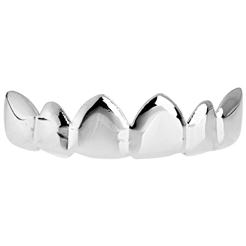 Iced Bling Hip Hop Grillz (.iced-out. One Size Fits All Bling Grillz - Relax TOP - Silber)