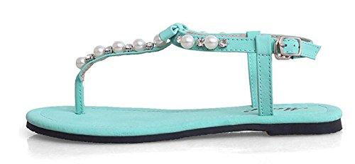 Wealsex Sandales Plates Perle Arc Sandales Plates Casuel Chaussure Été Plage Fête Voyage Vacances Bleu Noir Blanc Femme Bleu