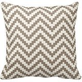Home Style Chevron Pattern- Zigzag Chevron Block Stripe in Tan and Cream Pillow Covers - Chevron Block