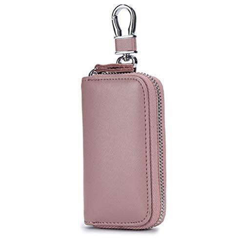 Multifunktionale Schlüsseletui Schlüsselmäppchen PU Leder Praktisch Autoschlüssel Auto Key Schlüsseltasche Hülle Tasche mit Reißverschluss für Damen Herren Bohnen rosa - Herren-bohnen