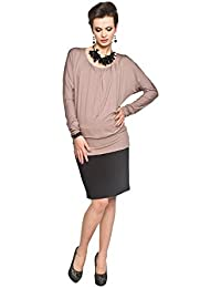 Long Sleeve Stretch Maternity Top - Brown