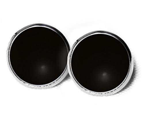 Ohrstecker Schwarz - schwarze Ohrringe - Süße Ohrringe - Ohrstecker edel - Ohrstecker schwarzes Outfit - 12mm - Geschenk - SC286 (Süße Schwarze Ohrstecker)