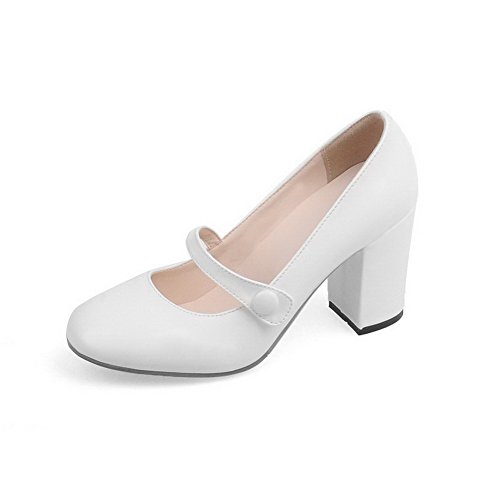 AgooLar Damen Rein Pu Leder Hoher Absatz Quadratisch Zehe Schnalle Pumps Schuhe Weiß