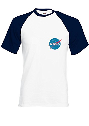Nasa National Space Packet Pocket America Navy/White Men Women Unisex Shirt Sleeve Baseball T Shirt-L